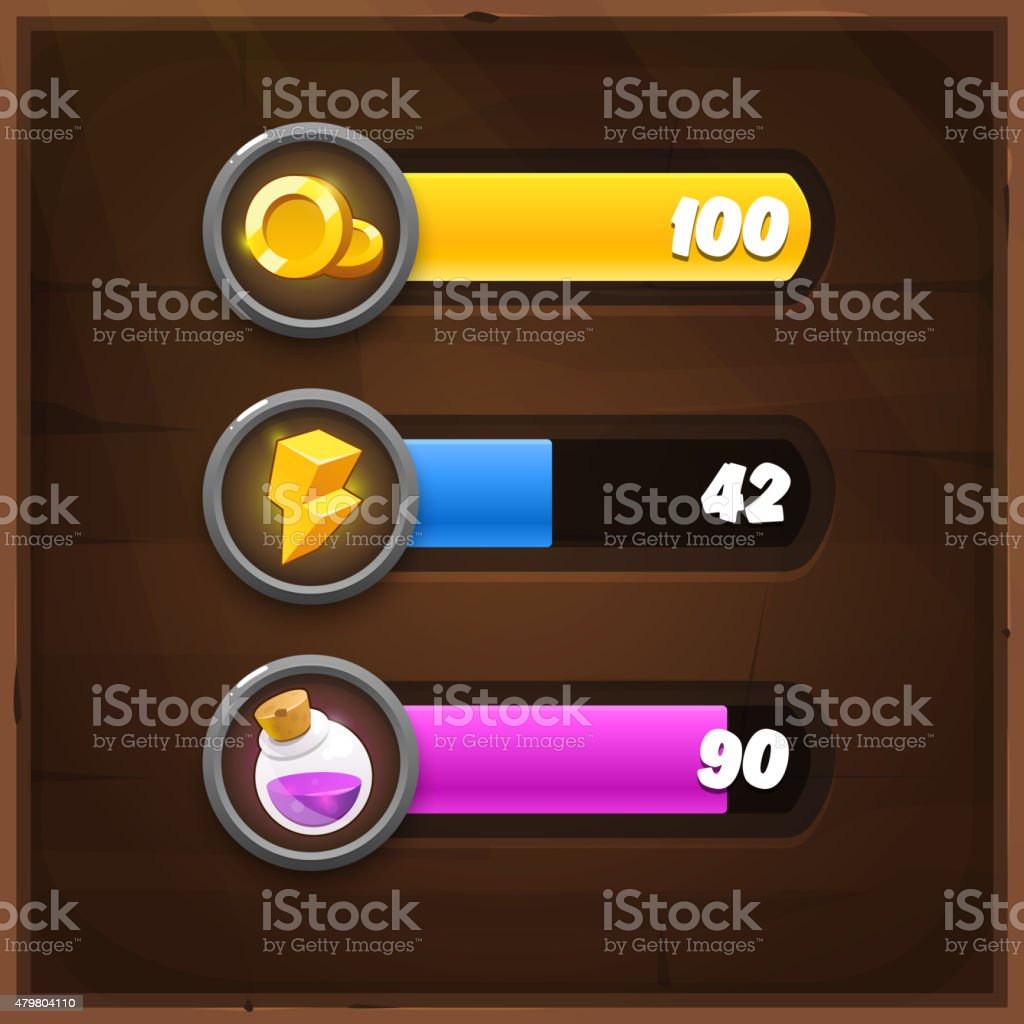 Game Resources Icons with Progress Bars on wooden background vector art illustration