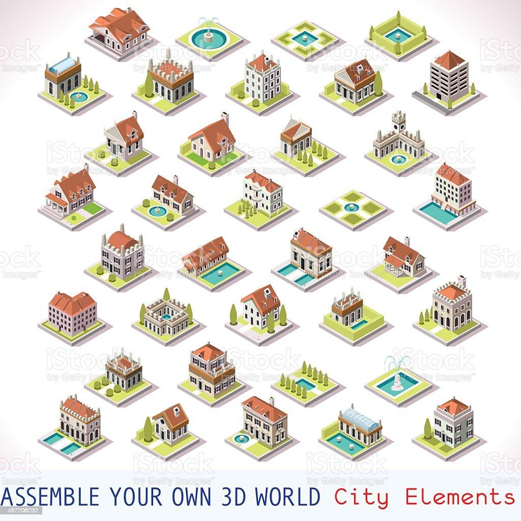 Game Set 03 Building Isometric vector art illustration