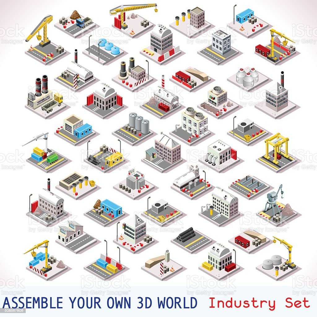 Game Set 06 Building Isometric vector art illustration