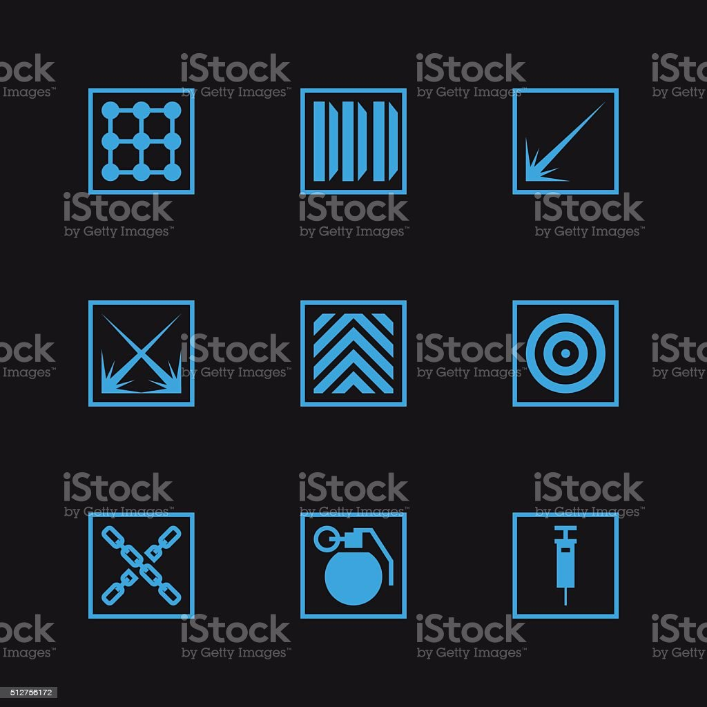 Game set vector icons vector art illustration