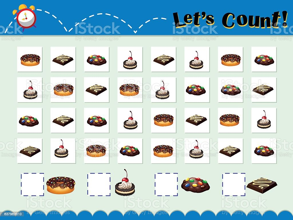 Game template for counting desserts vector art illustration