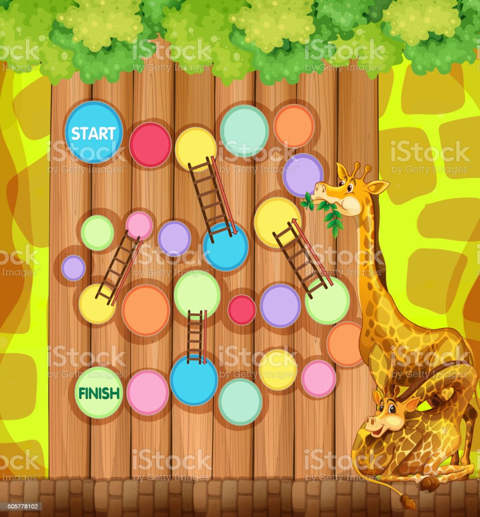 Game template with giraffes in background vector art illustration
