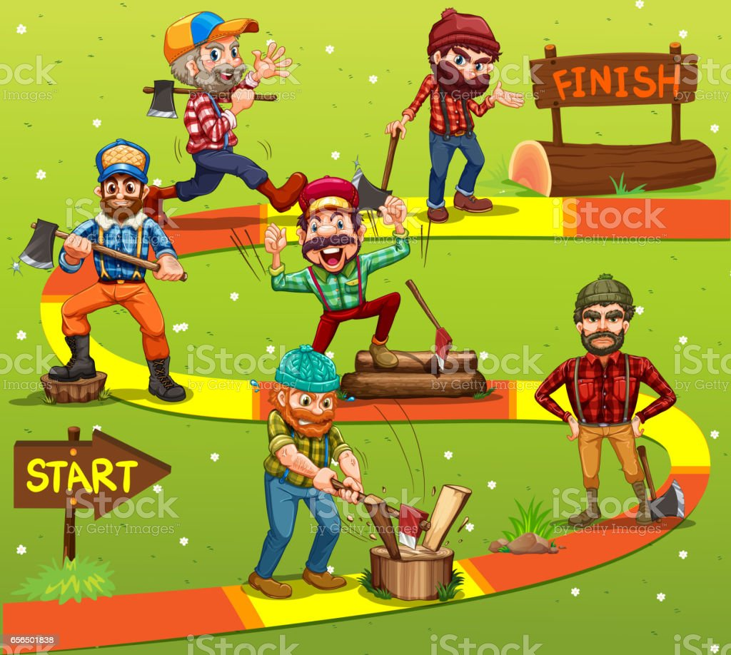 Game template with lumber jack characters in background vector art illustration