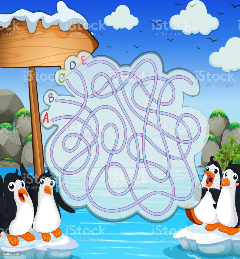 Game template with penquins on iceberg vector art illustration