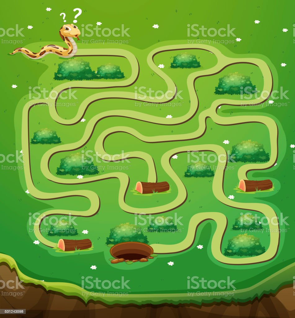 Game template with snake and hole vector art illustration