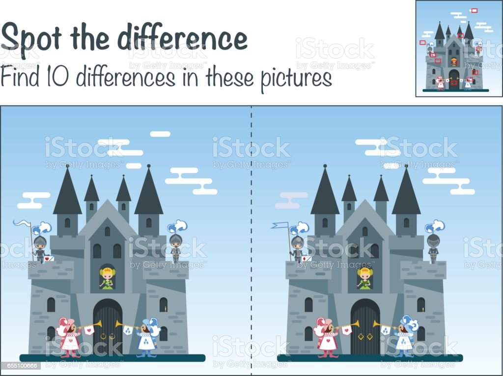 Game the mystery of the 'Find ten differences in the picture Medieval castle' vector art illustration