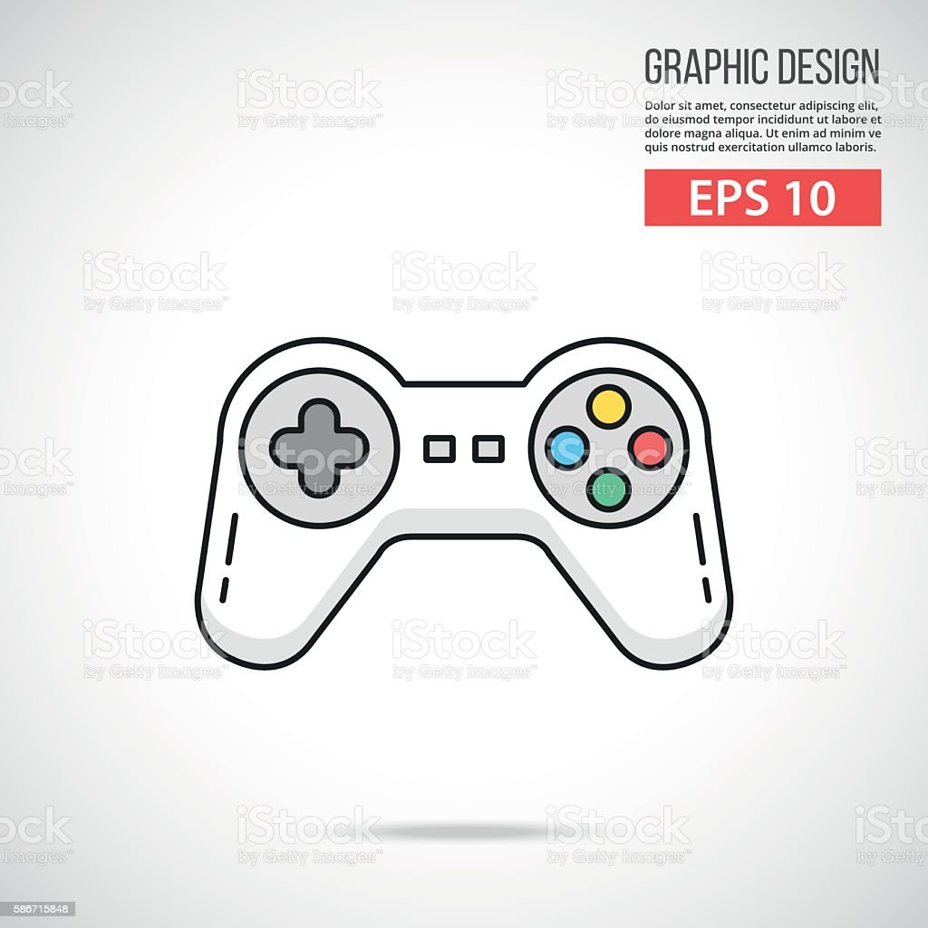 Gamepad icon. Thin line design. White game controller. Vector illustration vector art illustration