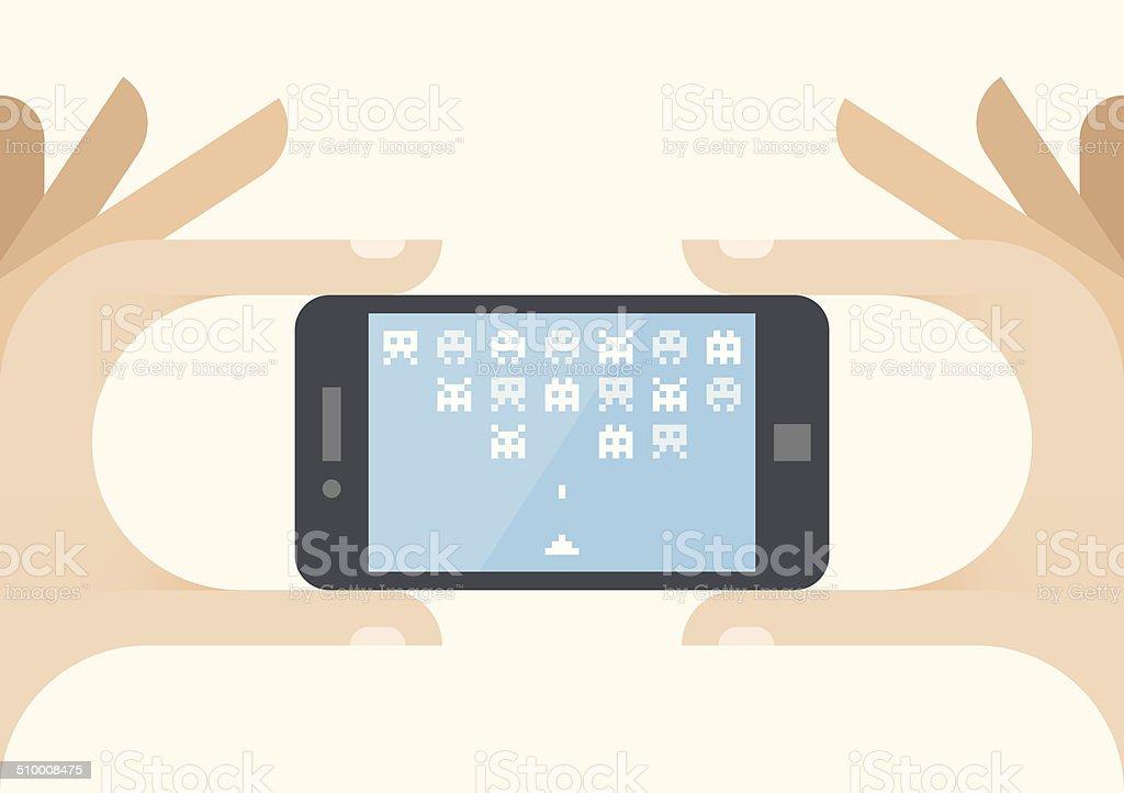 Gamer holding mobile phone with online arcade game vector art illustration