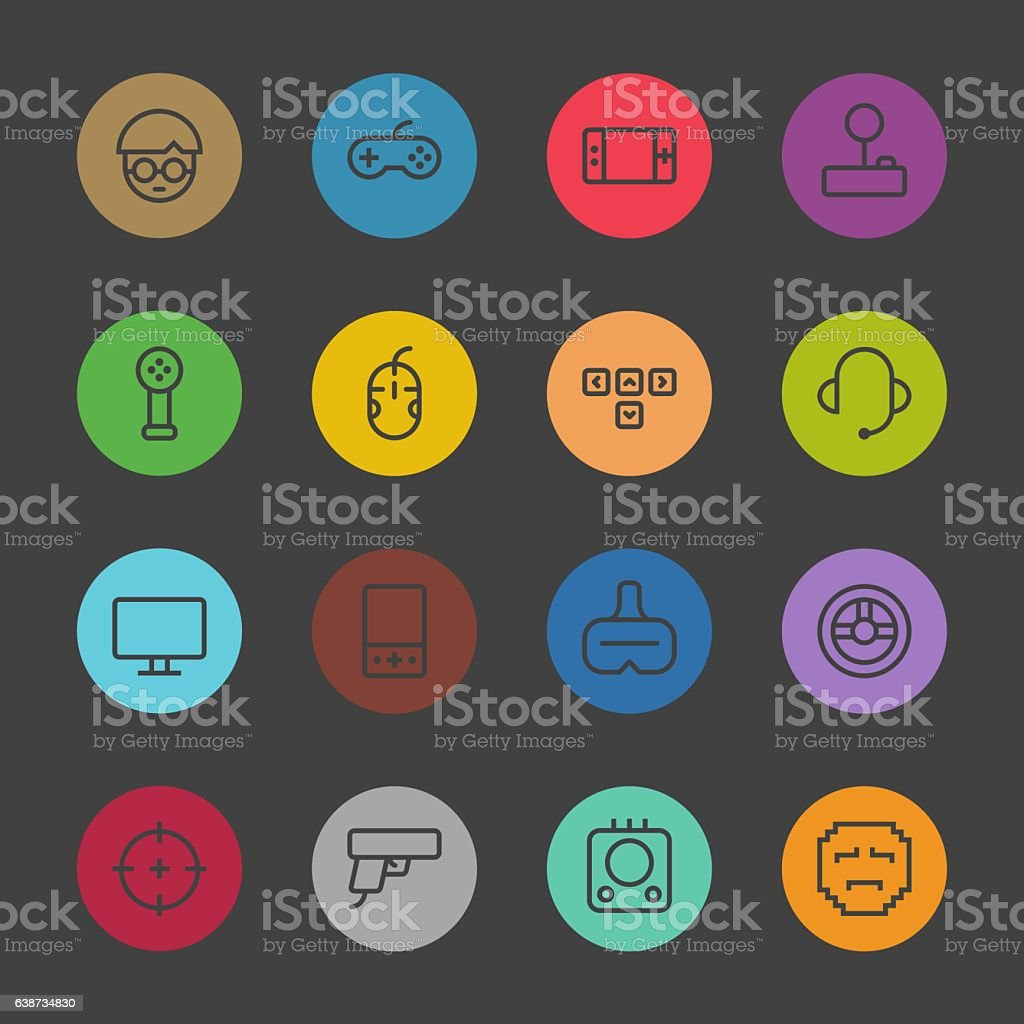 Gamer Icon - Color Circle Series vector art illustration