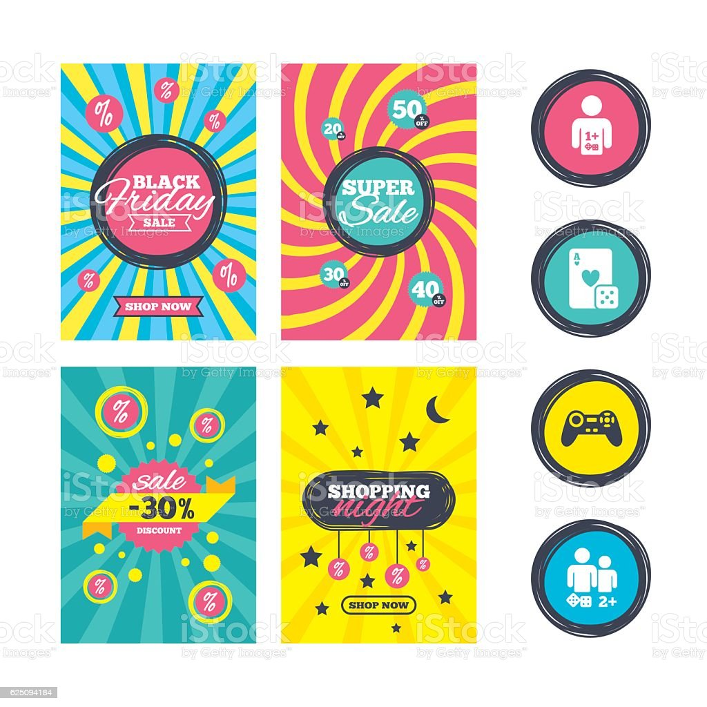 Gamer icons. Board games players. vector art illustration