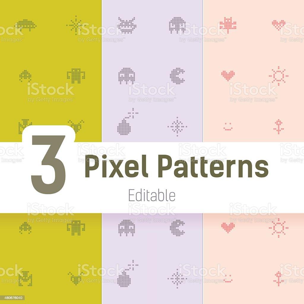 Gamer Monster Pixel Pattern, Flat Vector Background Set vector art illustration