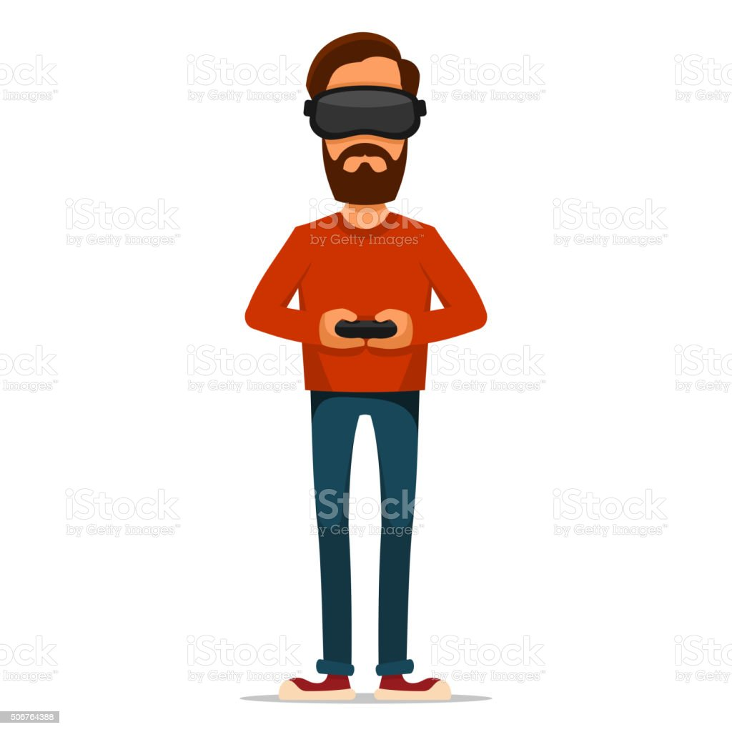 Gamer with Gamepad and Virtual Reality Headset. Vector vector art illustration