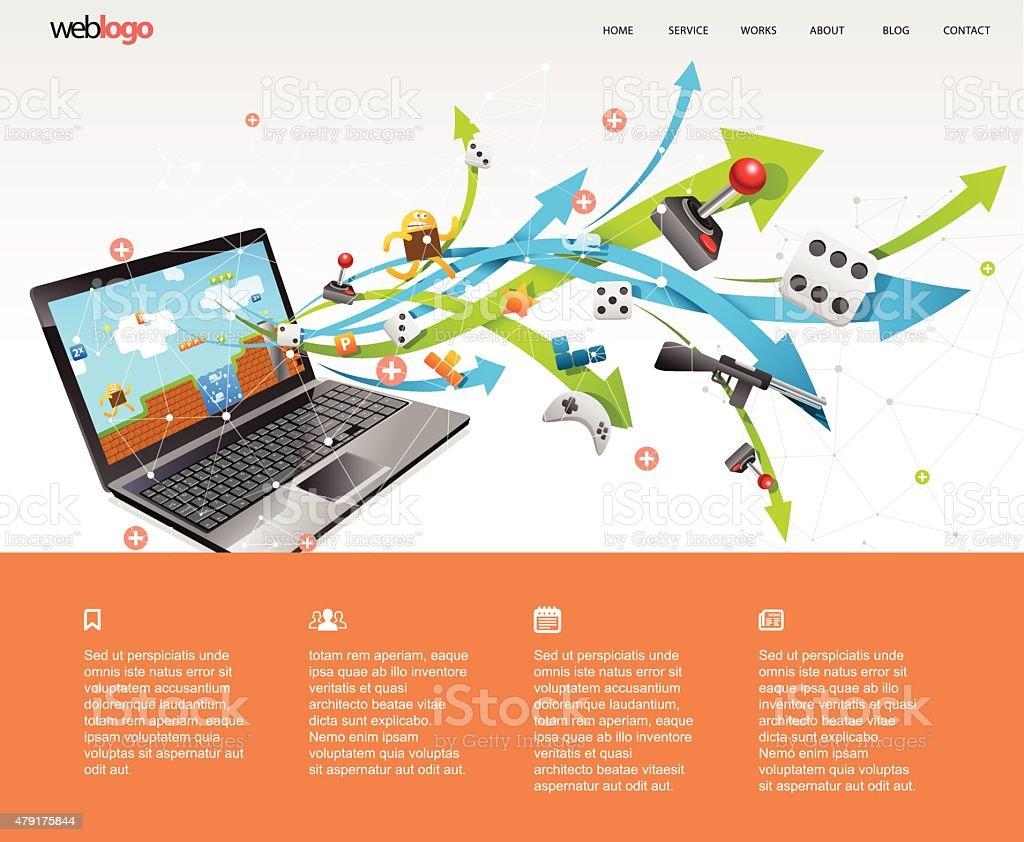 Games website design. vector art illustration