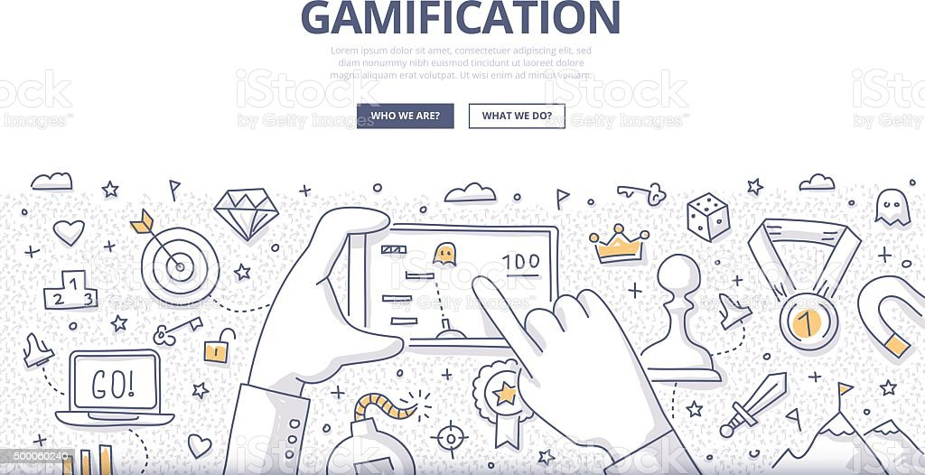 Gamification Doodle Concept vector art illustration