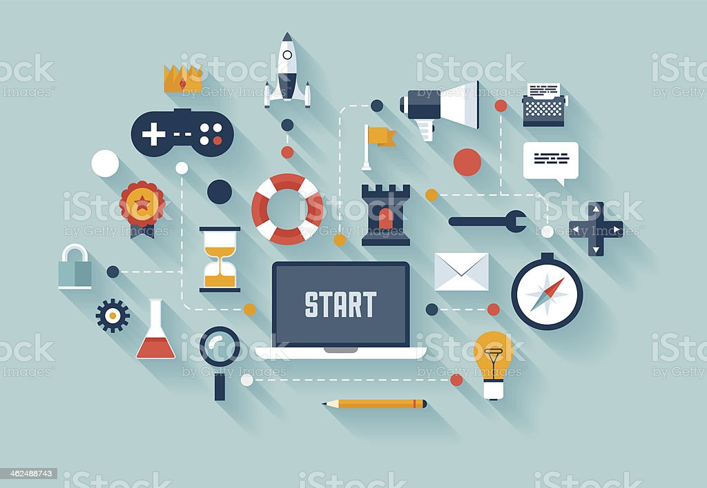 Gamification strategy in business vector art illustration