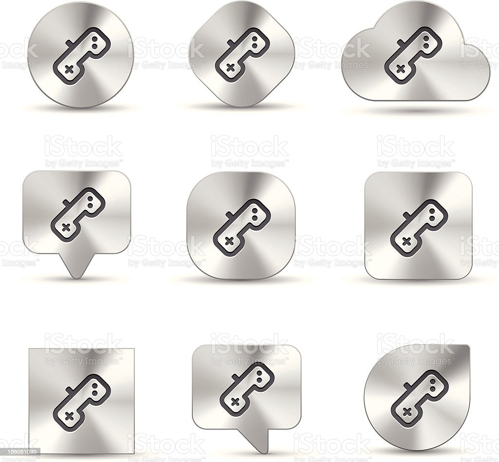 Gaming Brushed metal icons royalty-free stock vector art