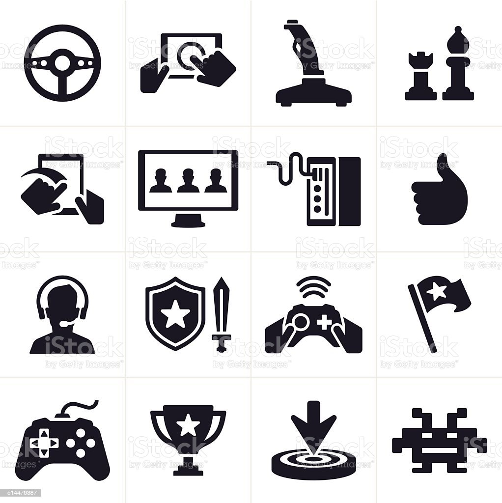Gaming Icons and Symbols vector art illustration