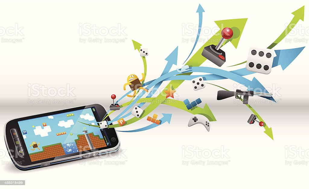 Gaming in smart phone royalty-free stock vector art