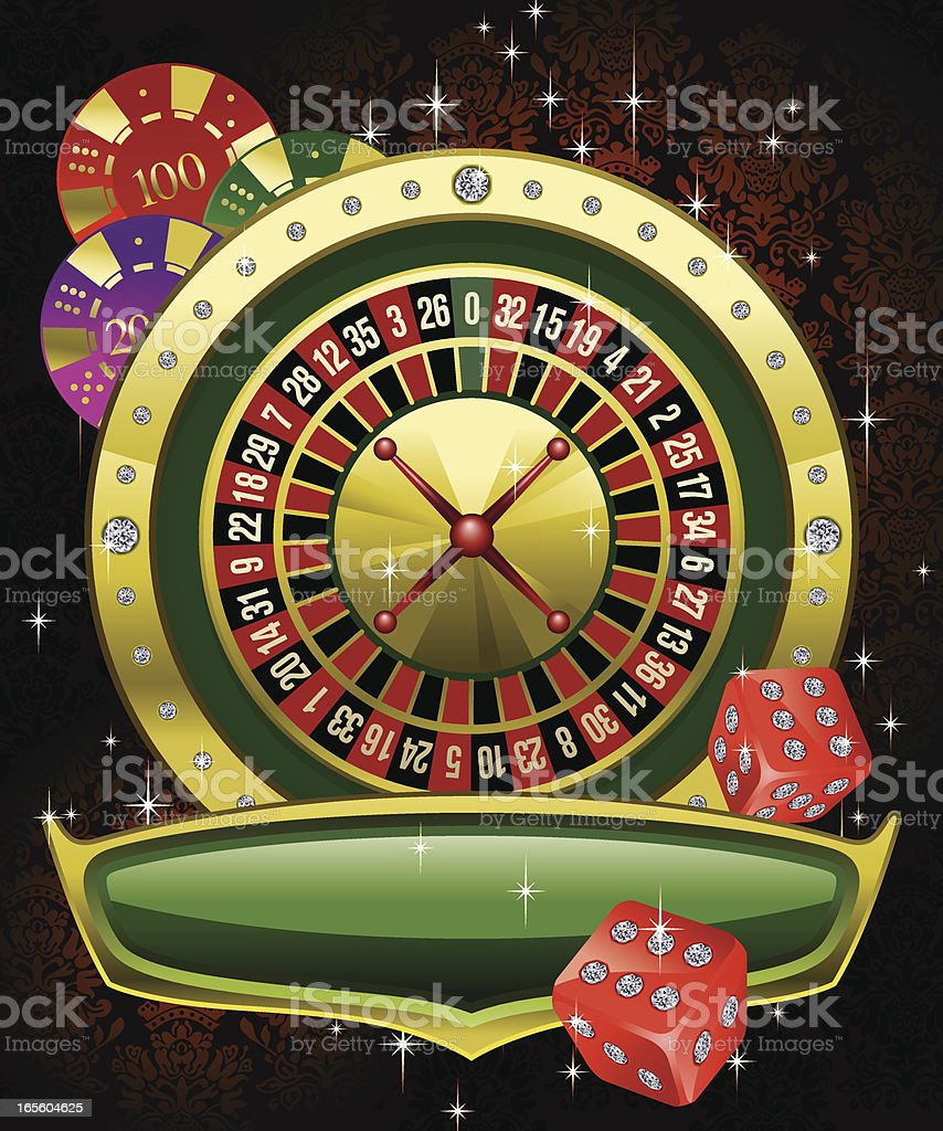 Gaming Roulette with Chips and Dices Vector vector art illustration