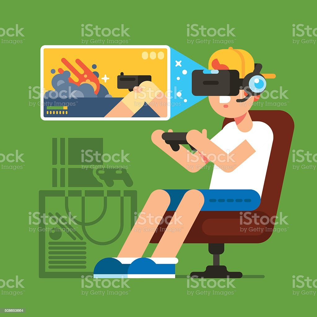 VR Gaming vector art illustration