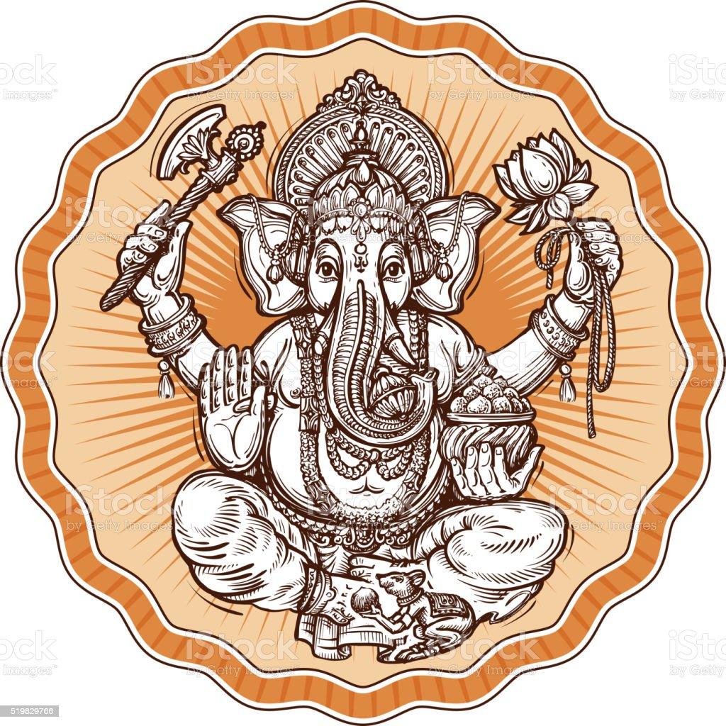 Ganesh Chaturthi. hand-drawn sketch religious symbol of hinduism. vector vector art illustration