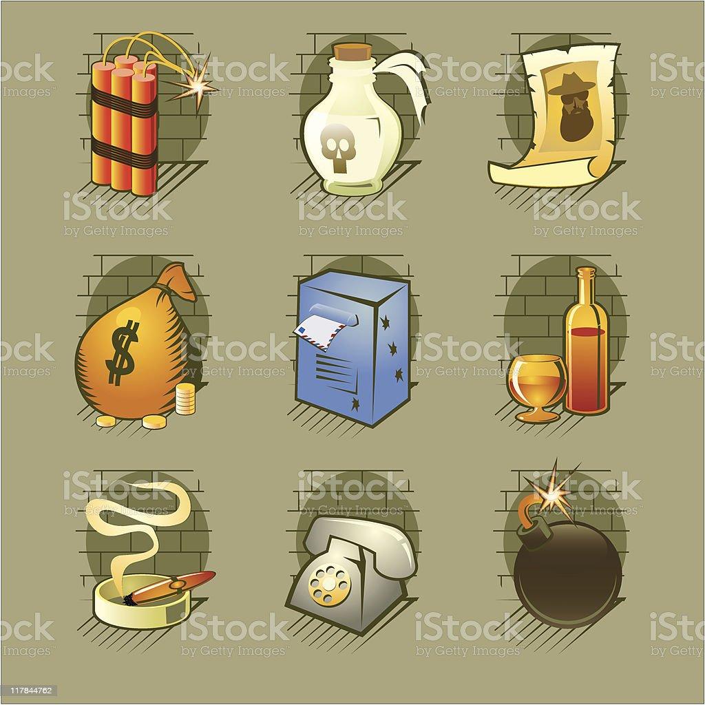 Gangsta set vector art illustration