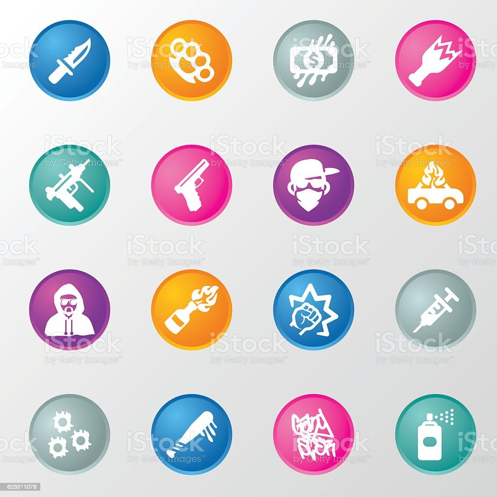 Gangster and Mafia Circle Color Icons vector art illustration
