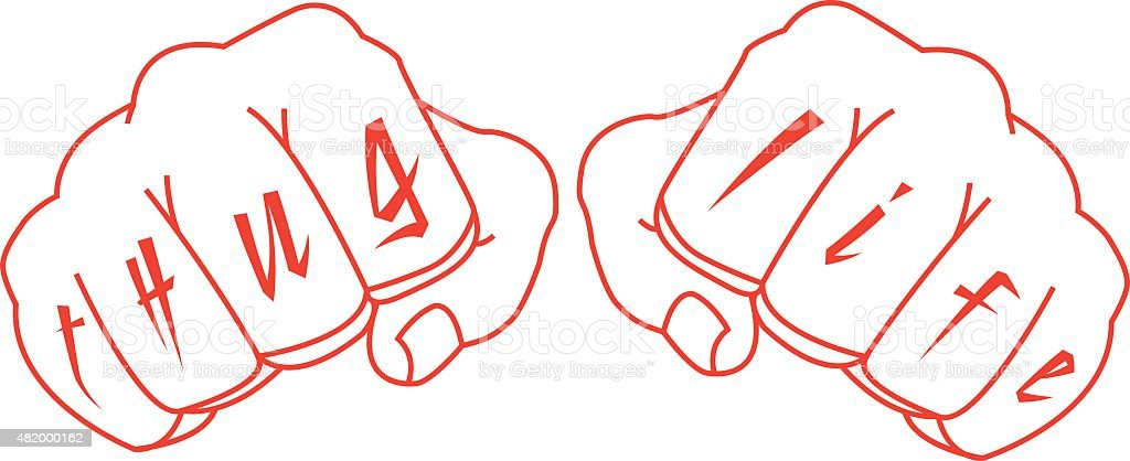 Gangster fists with thug life fingers tattoo vector art illustration