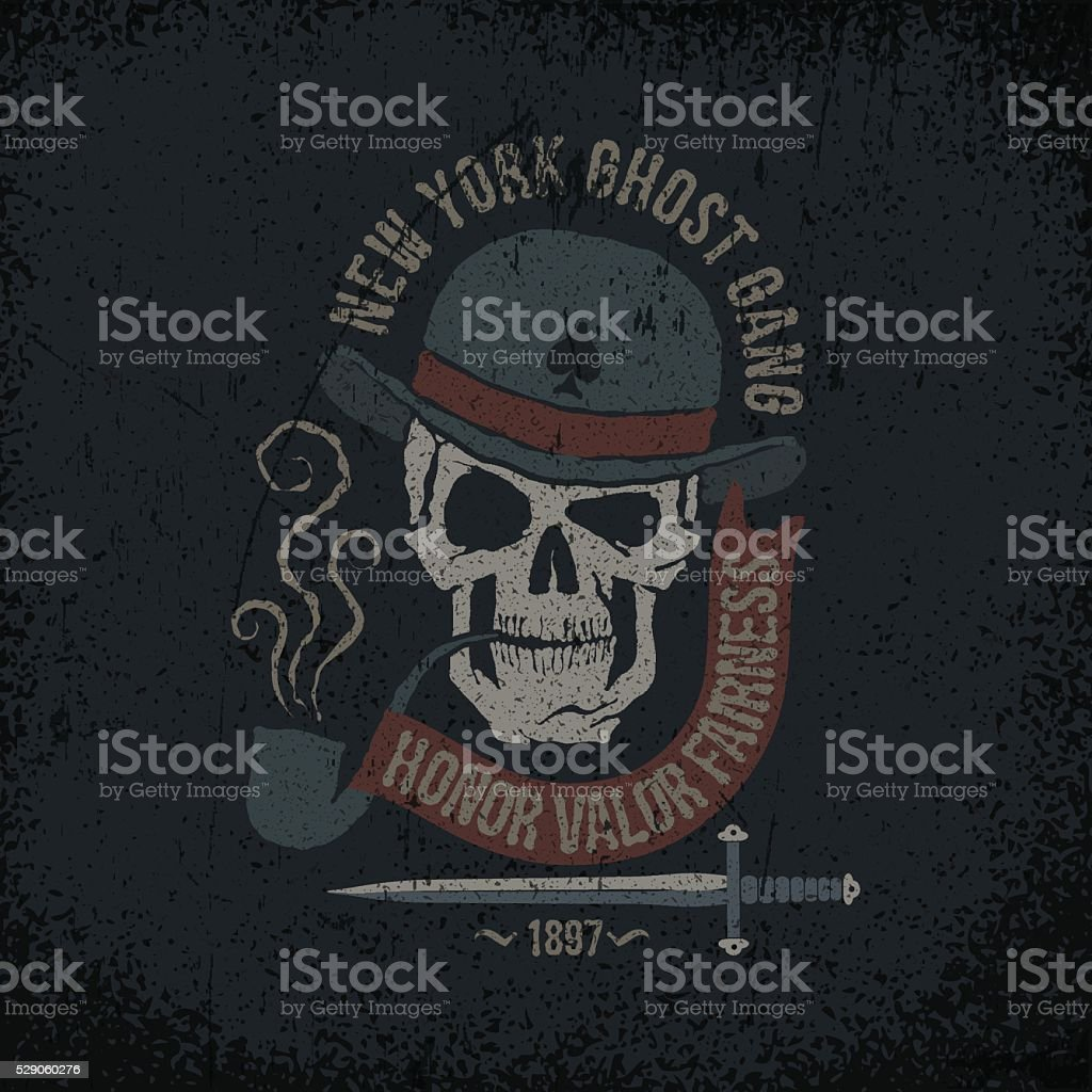 Gangster grunge logo vector art illustration