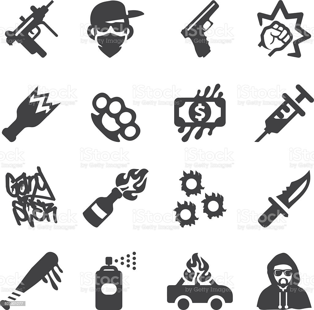 Gangster Silhouette icons | EPS10 vector art illustration