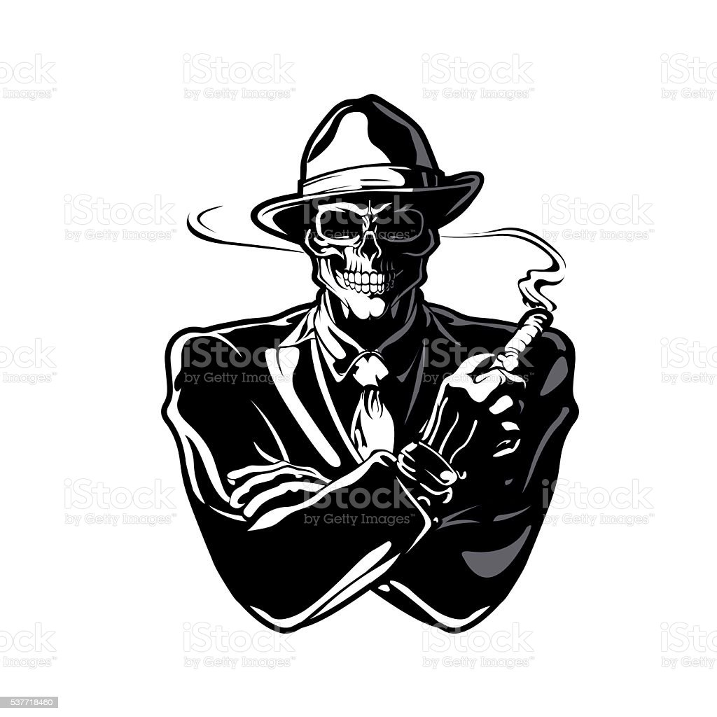 gangster skull vector art illustration