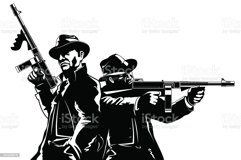 Gangsters vector art illustration