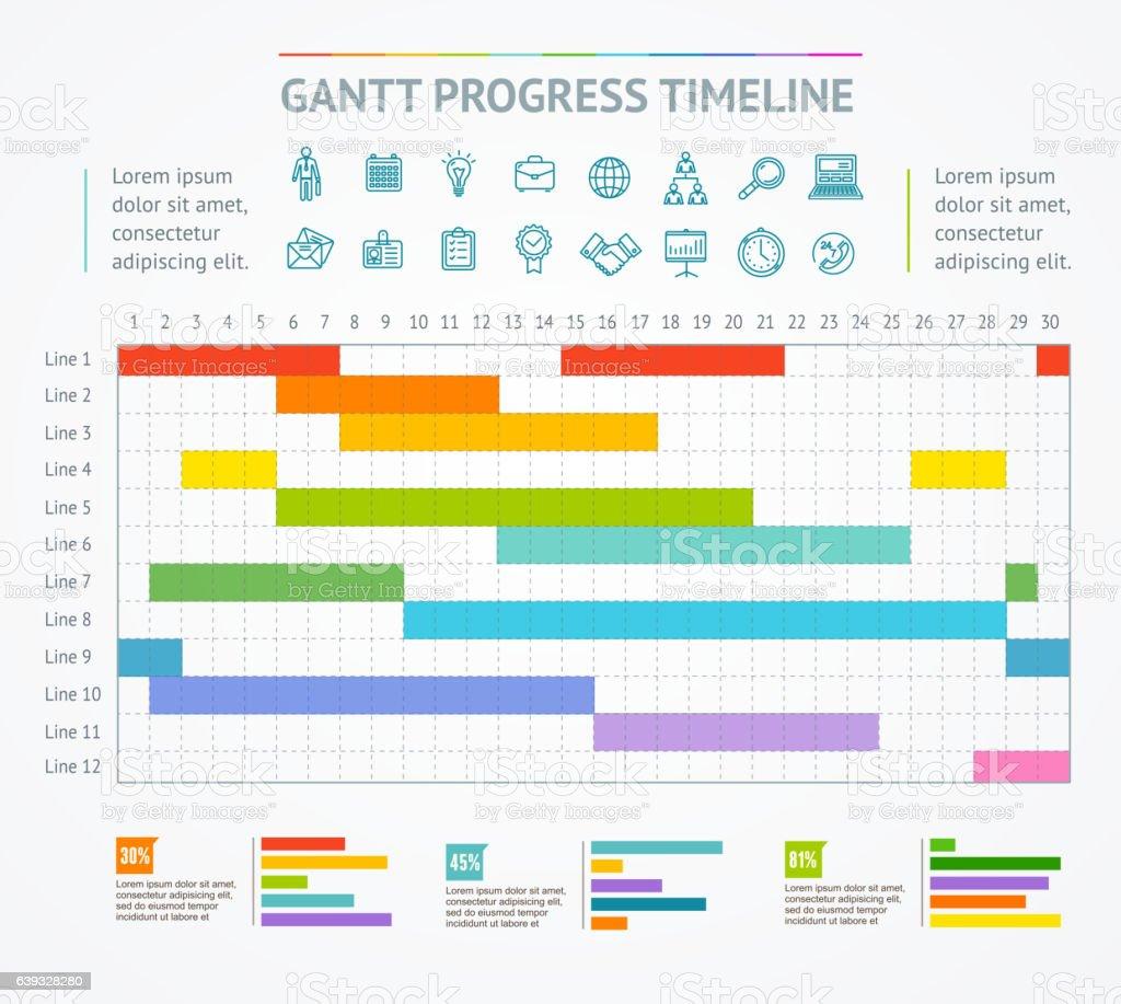 Gantt Progress Line. Vector vector art illustration