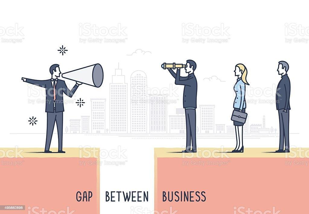 Gap Between Business vector art illustration