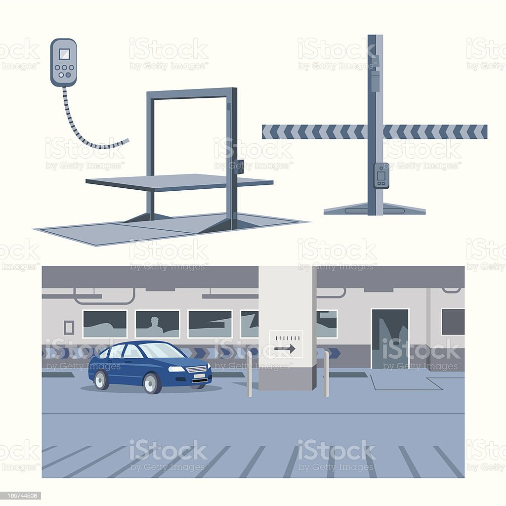 Garage and Hoists vector art illustration