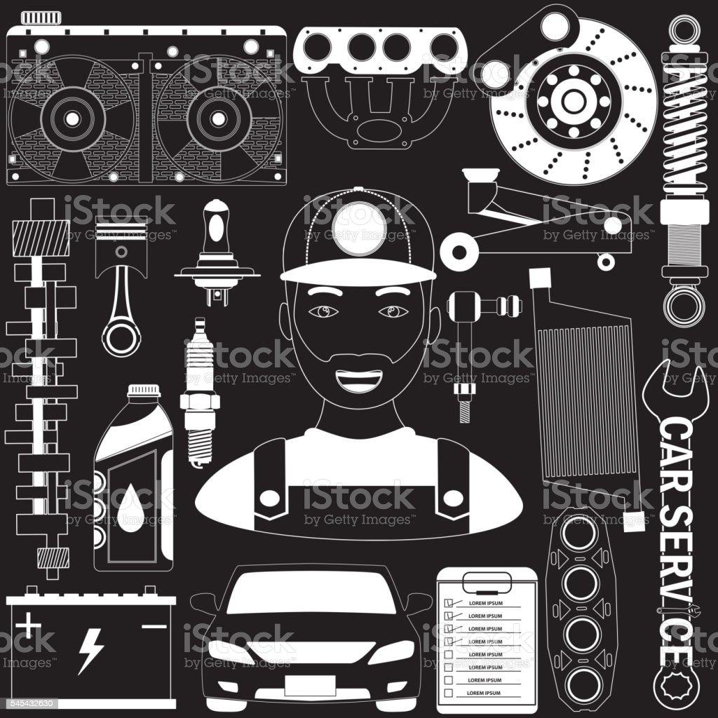 garage and mechanic on blackboard vector art illustration