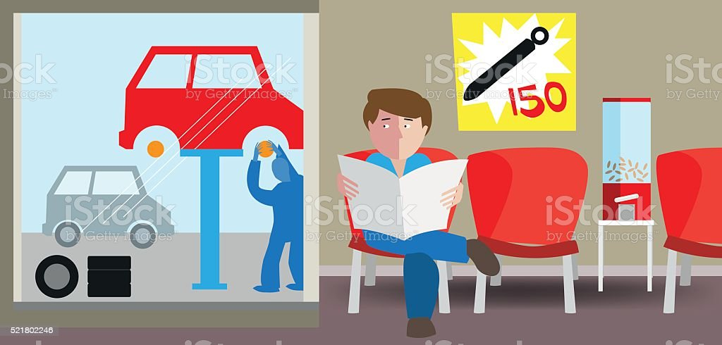 Garage appointment vector art illustration