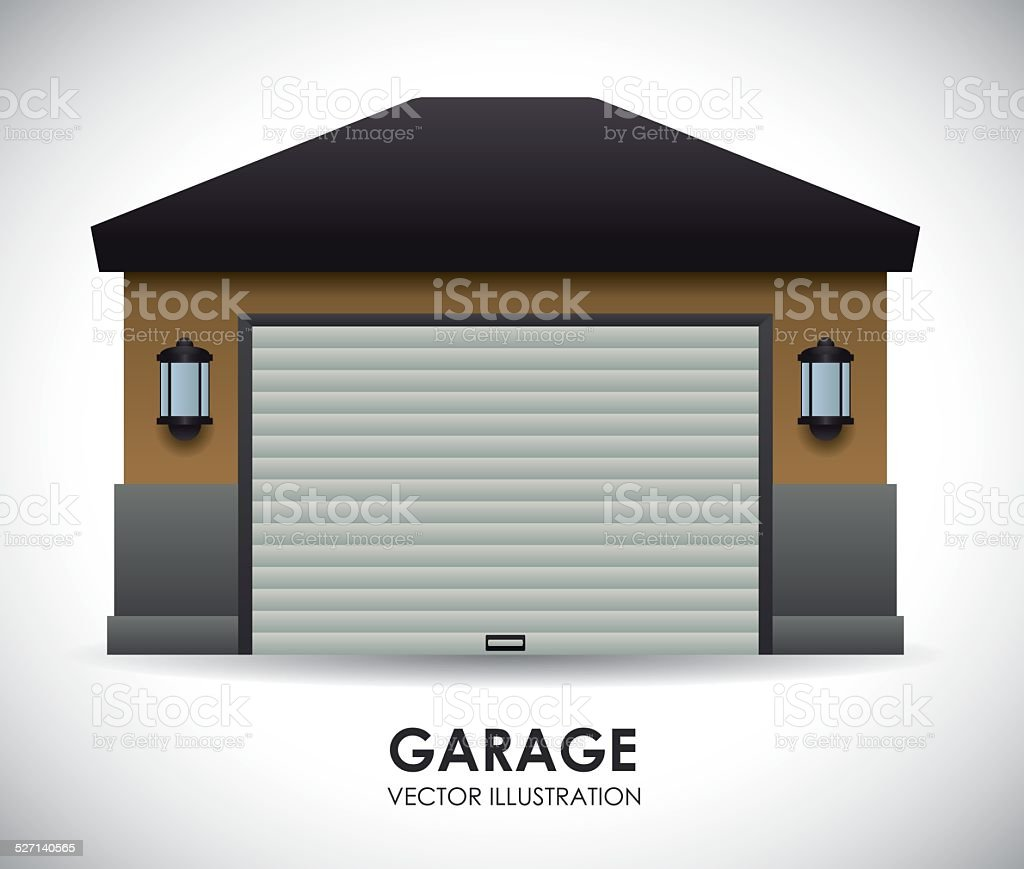 garage design vector art illustration
