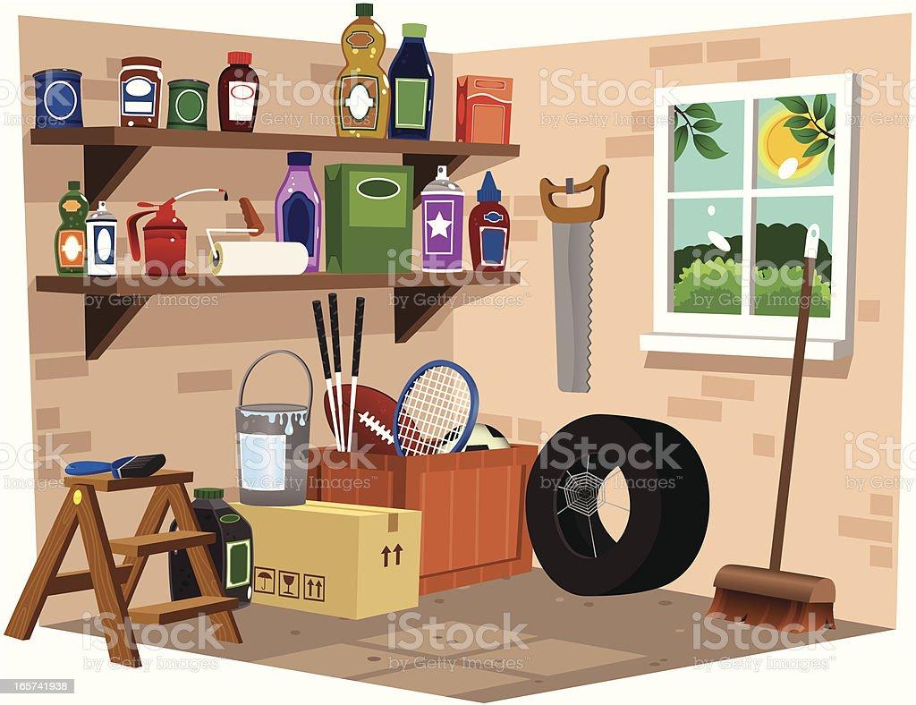Garage interior view vector art illustration
