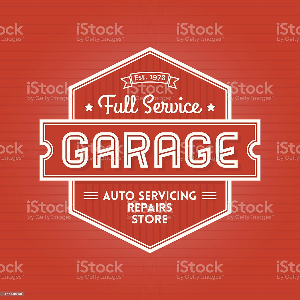 Garage Label vector art illustration
