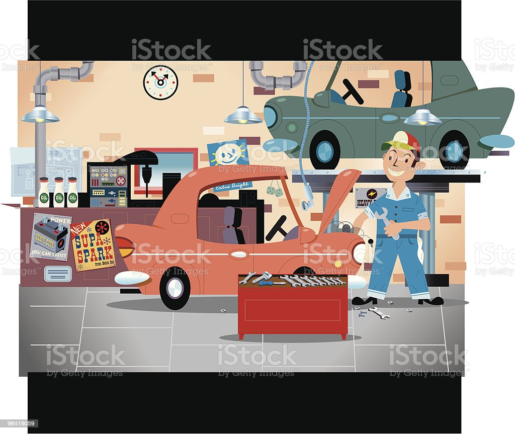 Garage Mechanic vector art illustration