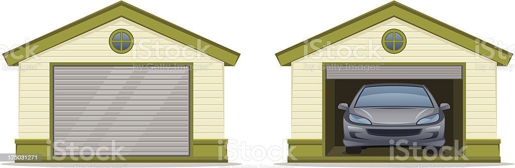 Garage with car vector art illustration