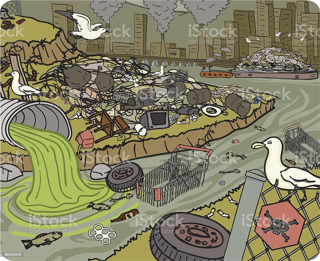 Garbage and Pollution in City vector art illustration