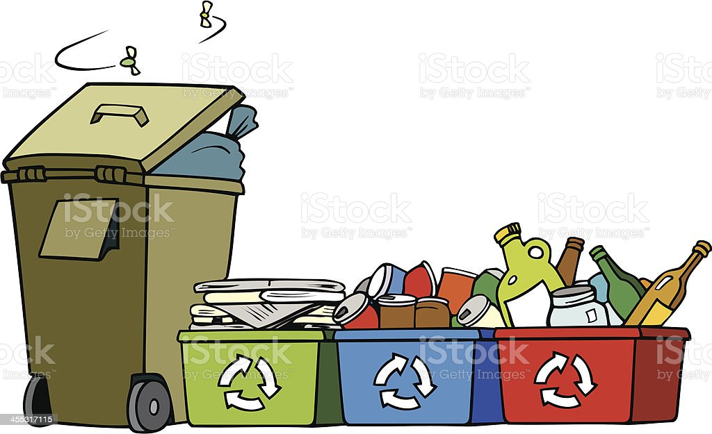 Garbage and Recycle Bins with Flies - Cartoon royalty-free stock vector art