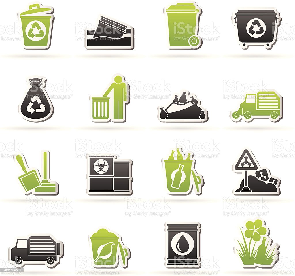 Garbage and rubbish icons royalty-free stock vector art
