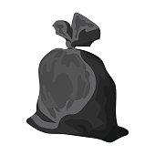 Garbage bag icon in monochrome style isolated on white backgroun
