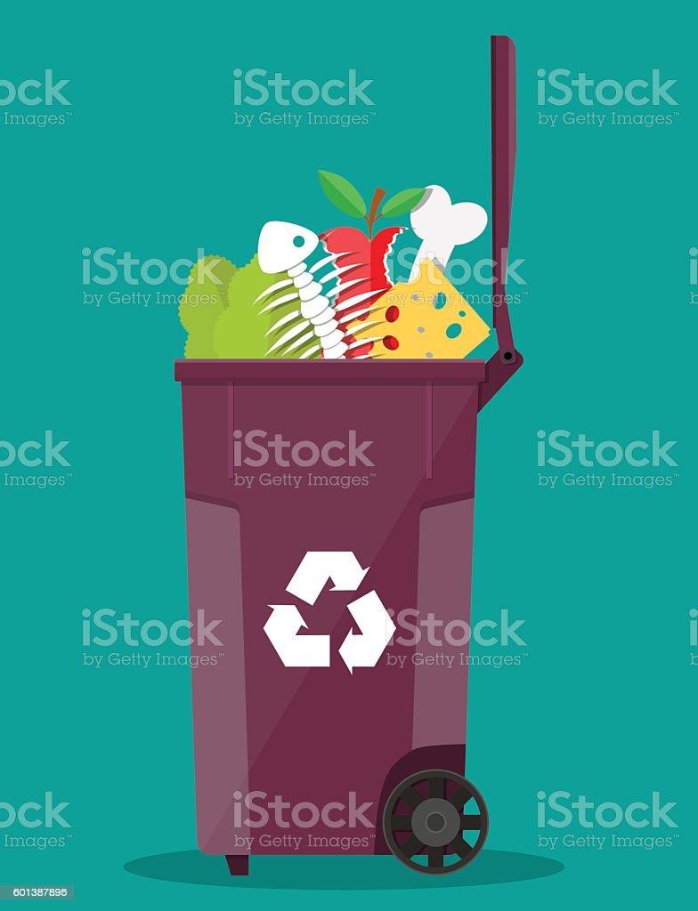 garbage bin container full of junk food vector art illustration