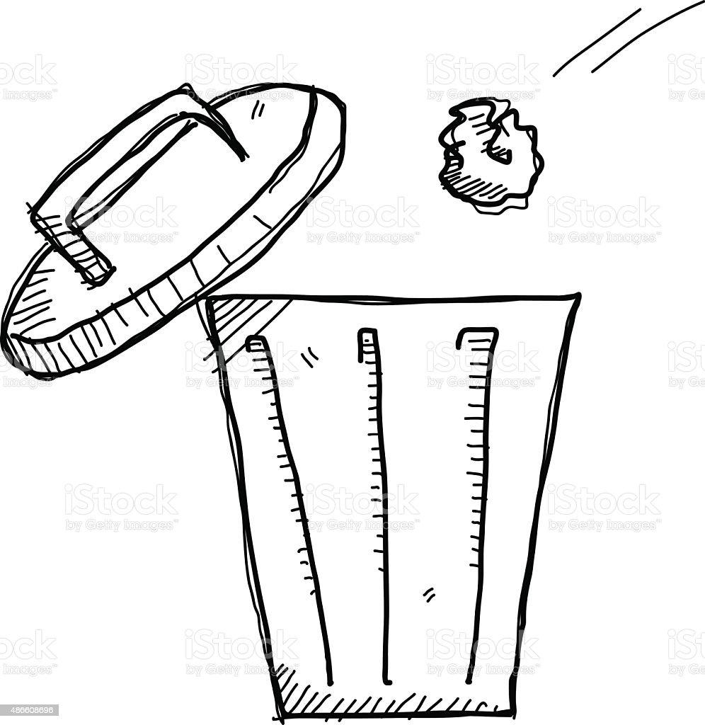 Garbage Bin Doodle vector art illustration
