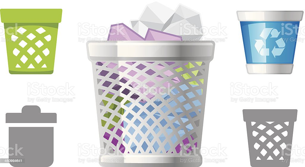 Garbage Bin icons royalty-free stock vector art