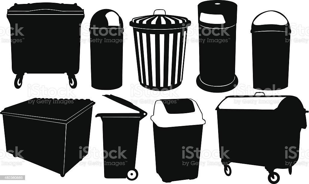 garbage bins vector art illustration